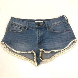 Roxy Festival Lace Hem Denim Shorts